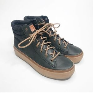 Keds   Leather Hightop Sneakers with Wool Cuffs